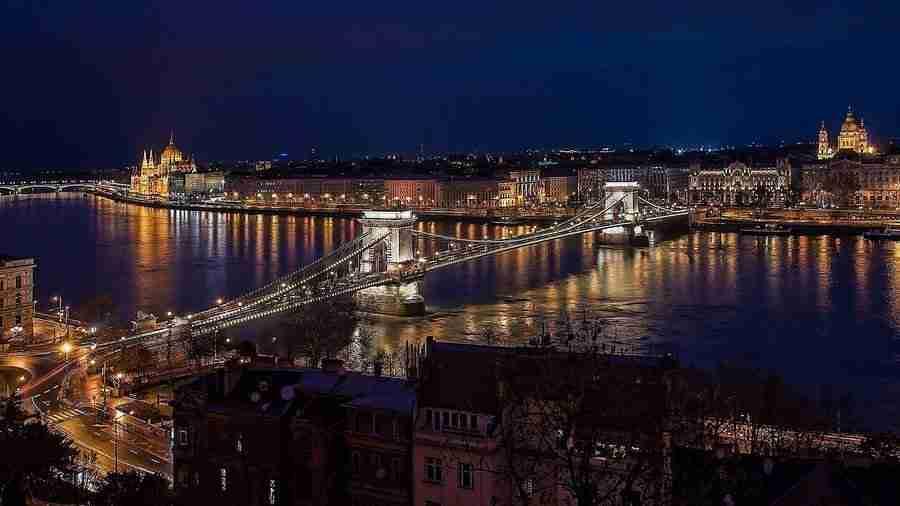 Vista de la ciudad de Budapest de noche, Budapest es una de las 10 Ciudades baratas para visitar en Europa en 2019.
